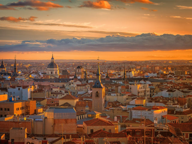 Madrid rooftops in the sunset