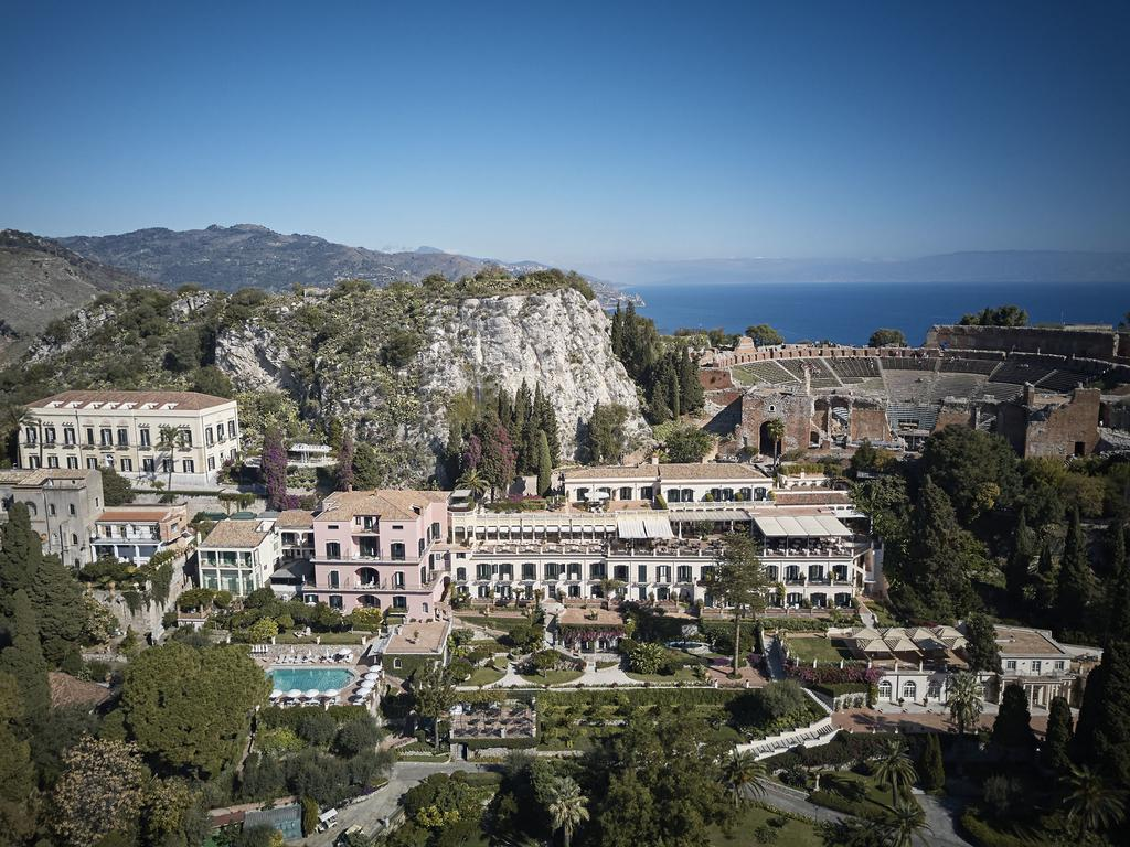 An arial view of Taormina commune in Sicily.